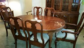 pennsylvania house cherry dining room queen anne 6 chairs gl shelved hutch