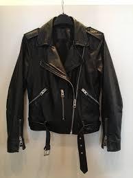 all saints black balfern leather biker jacket size uk 8 1 sur 10