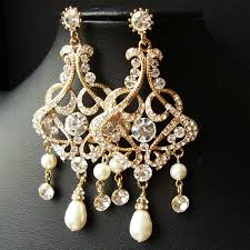 gold chandelier bridal wedding earrings statement by