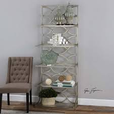 uttermost lashaya silver etagere 24622 black display counters 2 adjule height glass shelves free standing