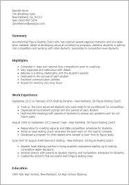 resume templates figure skating coach sales coach resume