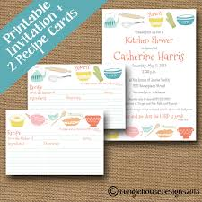 Kitchen Shower Kitchen Shower Invitation And Recipe Cards Combo Pack Diy