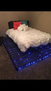 Bed Frame Made Of Pallets And Lights Custom Made Pallet Bed Pallet Idea Diy Pallet Bed