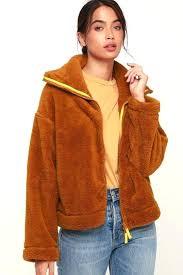 fuzzy jacket dazed rust brown high neck hm pink fur
