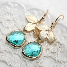 sea glass green and gold chandelier earrings fleur de lis earri