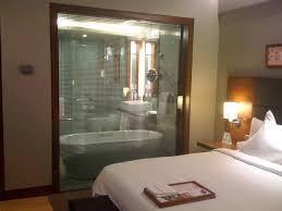 the glass wall between bathroom and romantic bedroom