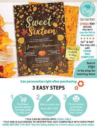 Free Online Thanksgiving Invitations Fallsweet 16 Sixteen Invitation Editable Rustic Thanksgiving Invite Template Autumn Leaves Pumpkin Instant Download Rustic Wood File F501
