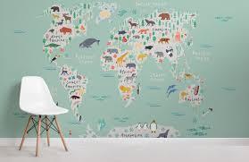 kids safari world map wallpaper mural