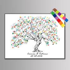 festival personalize wedding souvenirs guest book diy fingerprint tree signature canvas painting for romantic decor for wedding