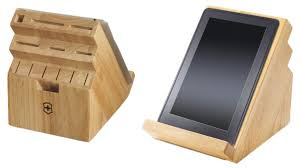 this victorinox knife block also serves as a tablet stand the wooden tablet stand