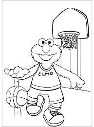 Kleurplaat Elmo Is Aan Het Basketballen Kleurplaatjecom
