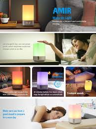 Non Plug In Night Light Amazon Com Amir Wake Up Light Beside Lamp Alarm Clock With