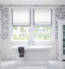 Beautiful Bathroom Will Dusty Blue And Gray And White Patterned In Bathroom  Roman Blinds (Image