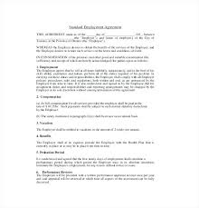 Standard Employment Contract Fascinating At Will Employment Contract Template