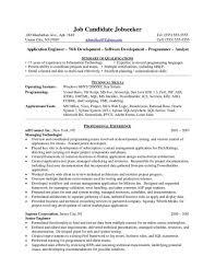 Sample Resume Of Net Developer Resume Examples