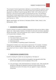 term paper on market segmentation market segmentation