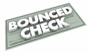 Bounced Check Insufficient Funds Bad Payment 3d Illustration Stock