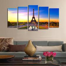 Paintings For Living Room Walls Aliexpresscom Buy 5 Panels Canvas Print Paris City View