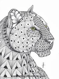 Tangled Leopard Abstract Doodle Zentangle Coloring