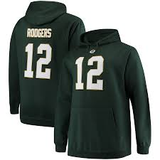 Aaron Pullover Men's Rodgers Hoodie Packers Tall Name Majestic amp; Big Green Bay Number
