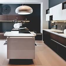 lighting ideas for kitchens. kitchen with retro veneer cabinetry wood flooring gloss island and silver pendant light lighting ideas for kitchens