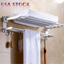Image Bathroom Clothes Image Is Loading Moderndoublewallmountedbathroombathtowelrail Ebay Modern Double Wall Mounted Bathroom Bath Towel Rail Holder Storage