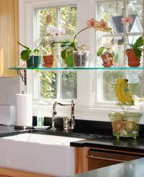 glass shelves above kitchen sink ideas