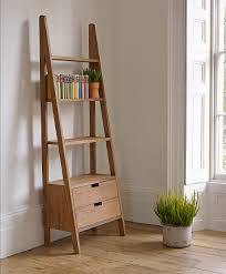 Sterling Industrial Style Shelving Also Polished Teak Wood Rustic Wall Ladder  Bookshelf Having Drawers Underh And