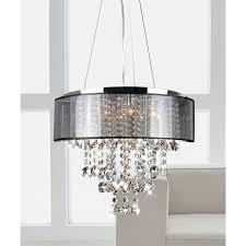 elegant black and crystal chandeliers visalia chrome and translucent black shade 9 light crystal