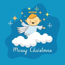 Netter Engel Mit Weihnachtsstern Download Kostenlos Vector