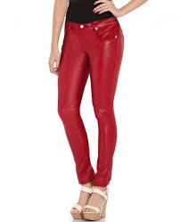 women skinny low waist leather pants