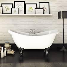 mayfair 1760 x 740 double ended slipper freestanding bath with chrome leg set