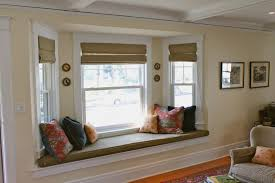 Kitchen Bay Window Seating Awesome White Bay Windows On Green Wall Also Striped Seats