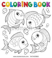 coloring book with fish theme 4 eps10 vector ilration