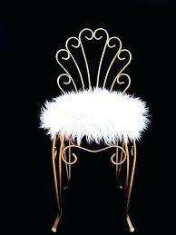 fur vanity stool vintage regency gold metal faux by white chair mongolian ch faux fur vanity stool