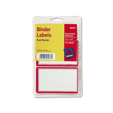 Avery Binder Label Avery Red Border Self Laser Ink Jet 2 1 2 X 4 32 Pack Adhesive