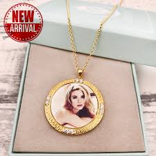 heart shaped necklace gold heart pendant with picture personalized heart photo pendant