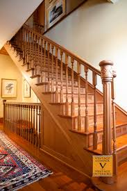 Custom Newel Post Antique Wood Stairs And Custom Designed Newel Post With Engraved