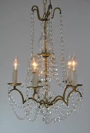 vintage italian brass tone and chrystal chandelier light