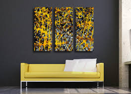 black white and yellow canvas wall art