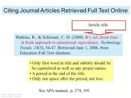 How To Quote In Apa Stunning Apa Citation For Online Journal Article APA Citing A Scholarly