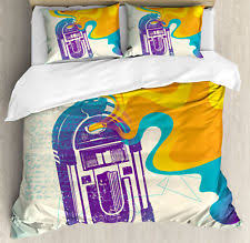 pillow radio. vintage queen size duvet cover set antique radio music box with 2 pillow shams