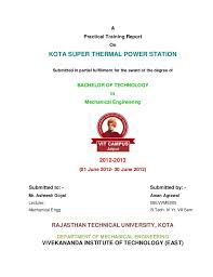 Training Report Cover Page Kota Super Thermal Power Station Training Report