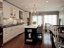 Transitional Kitchen Lighting Transitional White Kitchen With Brown Floor And Ceiling Lamps