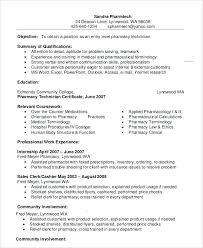 Pharmacy Technician Objective For Resume Mechanic Pharmacy