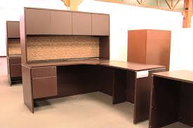 used office source l shaped desk with hutch