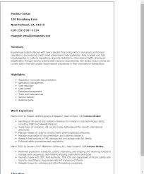 Custom Resume Templates Gorgeous Gallery Of Professional Customs Broker Templates To Showcase Your
