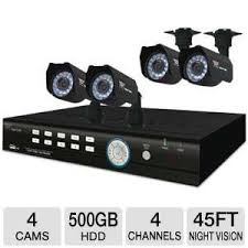 Night Owl 4BL-45GB-R-RB Video Security System - 4 Cameras, 4-Channel H.264 DVR, 500GB, D1 Recording, Vision Up to 45 Feet (Refurbished)