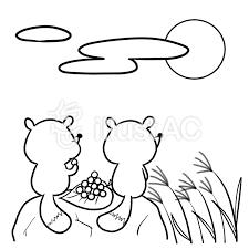 月見動物タヌキ線画塗り絵イラスト No 857301無料イラストなら