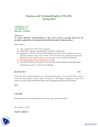 Letter Of Inquiry Business Communication And English Language
